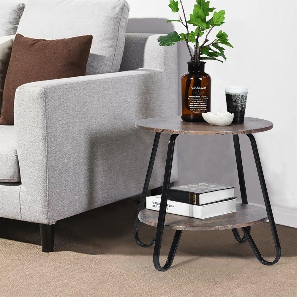 Furniture R Round 2 Shelf Coffee Table Dark Brown End Side Table In 2020 Sofa Side Table Furniture Sofa End Tables