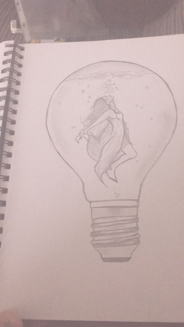 Drawing Drowning Lightbulb With Images Art Drawings Art