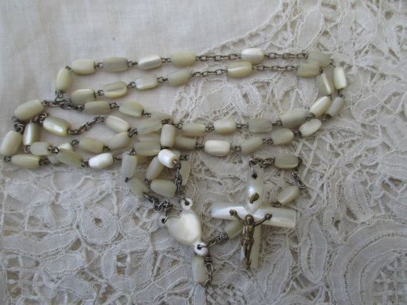 Antique rosary 1900 destash Mother of pearl by Nkempantiques