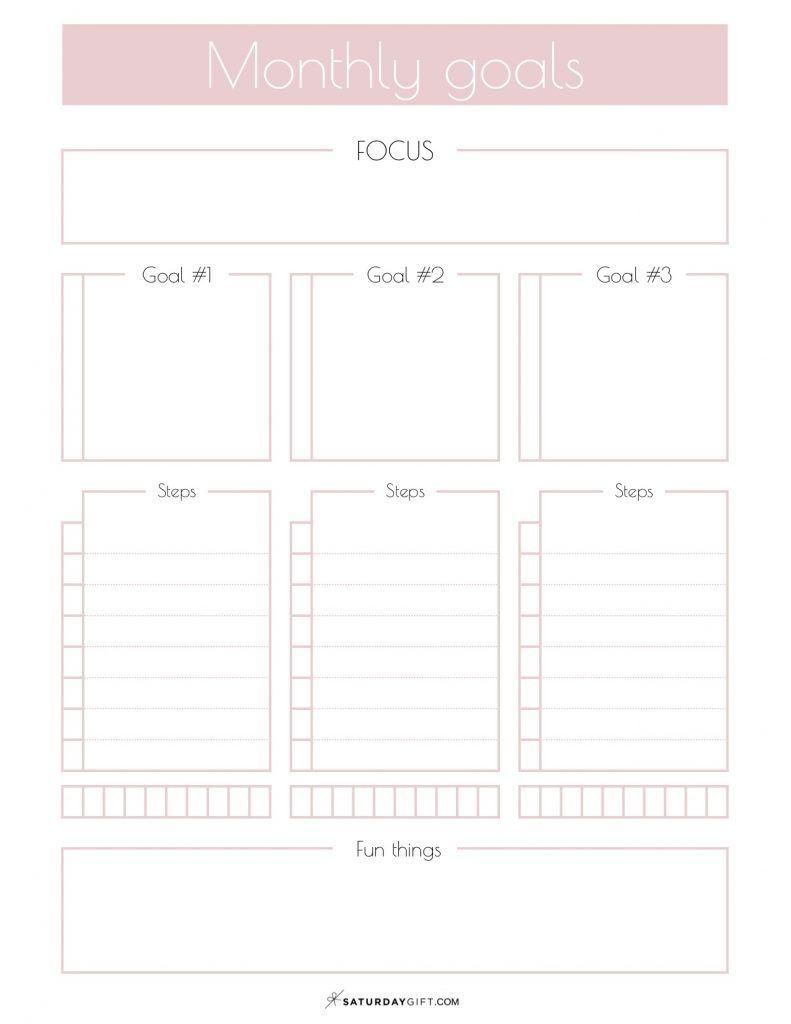 Monthly Goals Planner Sheet Calendar 2020 Easily Set Your Mini