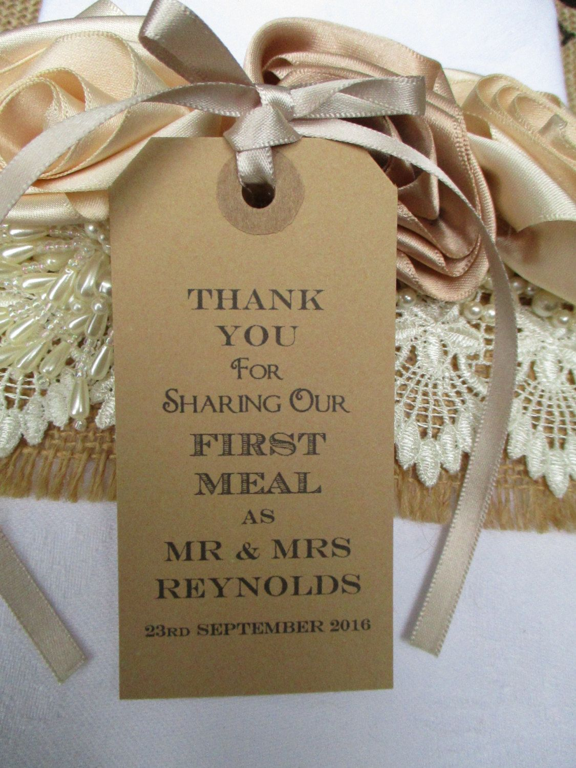 Items Similar To Thank You For Sharing Our First Meal Wedding Table Decor Tags