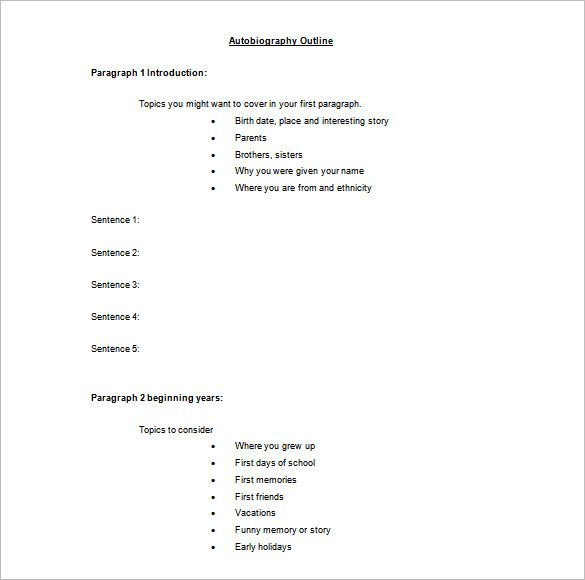 Autobiography Outline Template \u2013 8+ Free Sample, Example, Format