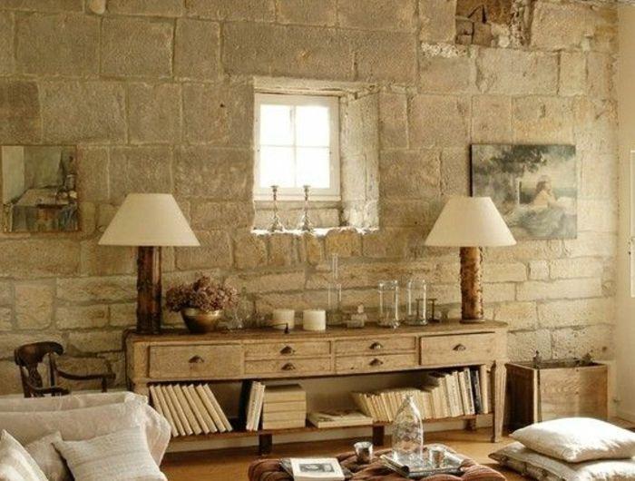 Le mur en pierre apparente en 57 photos! Salons, Decoration and House