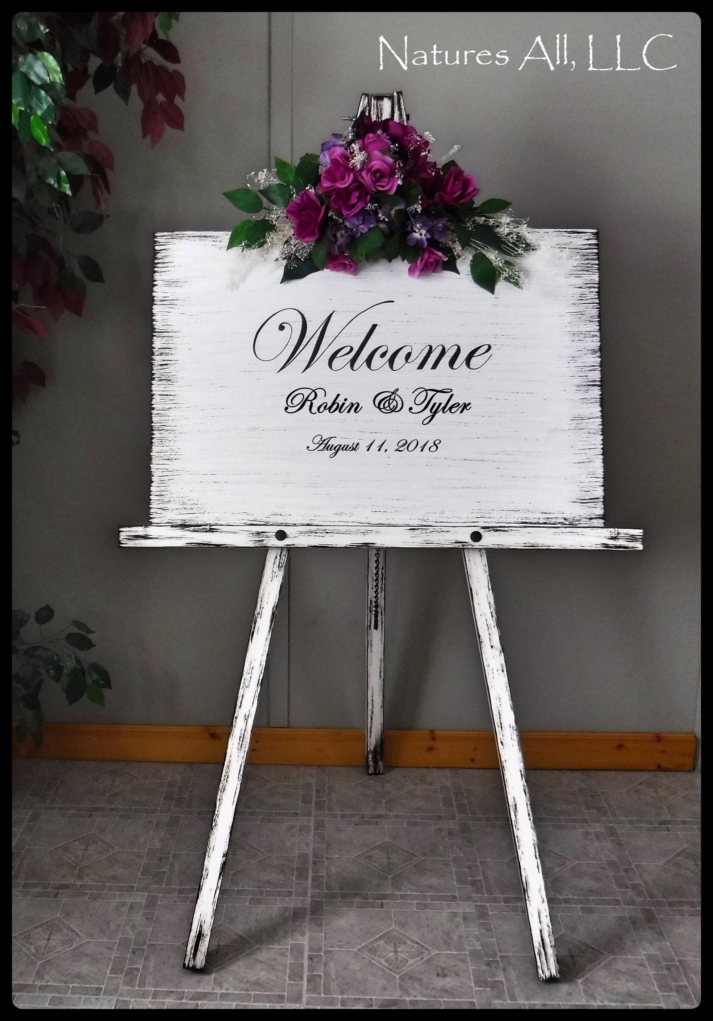 Wedding Sign Welcome Welcome Sign And Large Floor Easel Wedding Signs Wood Wedding Signs Rustic Wood Wedding Signs