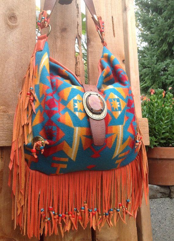 Pendleton Wool & Orange Leather Fringed Western Bag with Vintage Findings. $295.00, via Etsy.