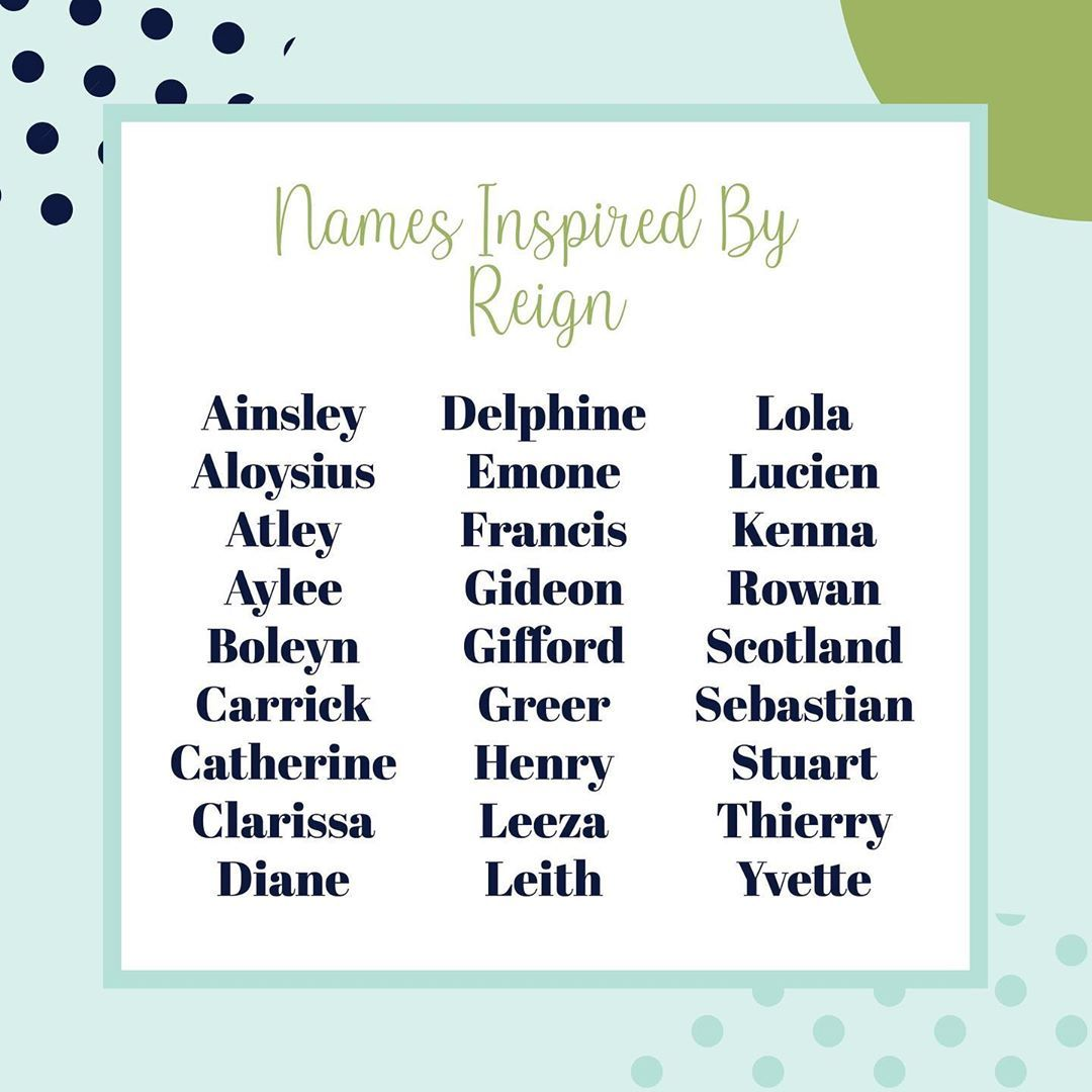 Names Inspired By Reign Reign Is Another Amazing Show With Wonderful Unique Names This List Will Help You The Per Baby Name List Baby Names Unique Names