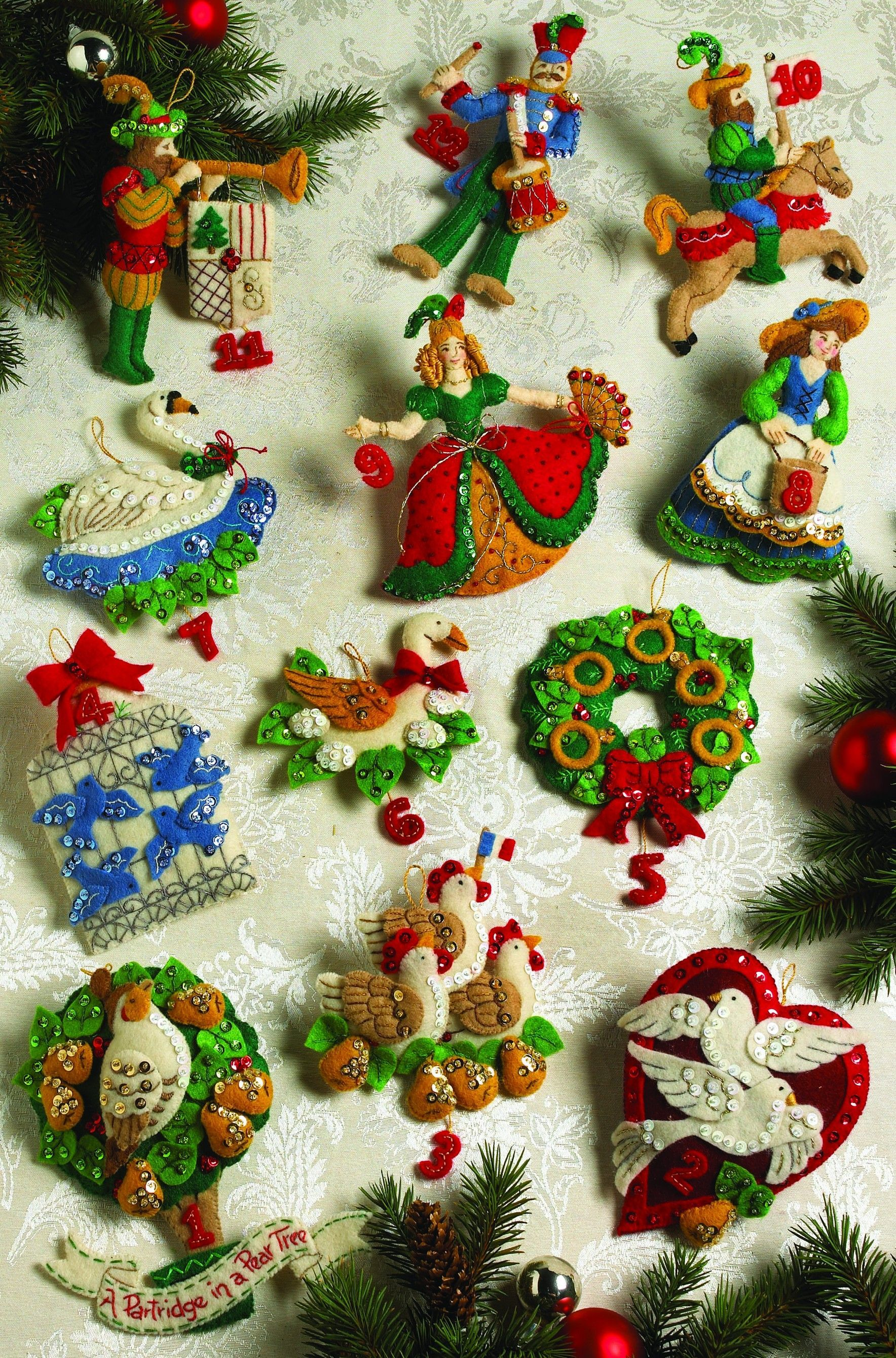 Partridge In A Pear Tree Bucilla Ornament Kit 12 Days Of Christmas Felt Christmas Ornaments Felt Christmas Felt Ornaments