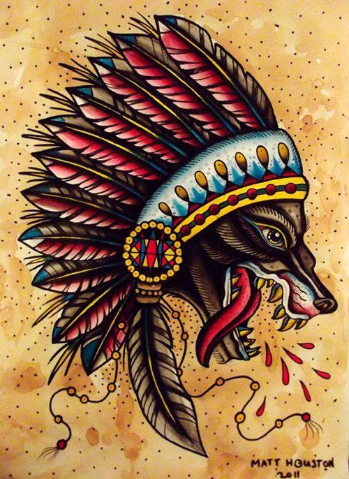 Wolf With Headdress : headdress, Headdress, Traditional, Tattoo,, Tattoo, Design,, Tattoos