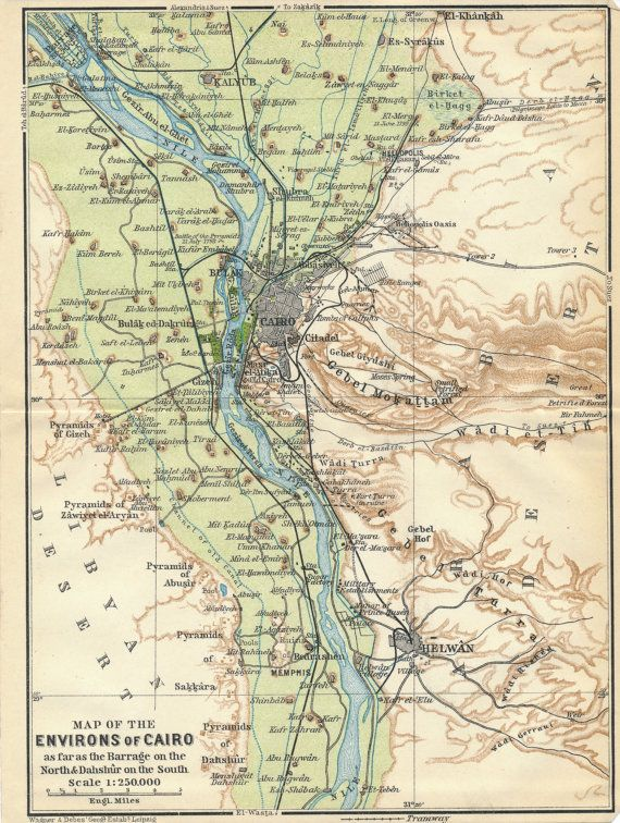 1911 Antique Map of Cairo Egypt in 2018 | Antique City Maps ...