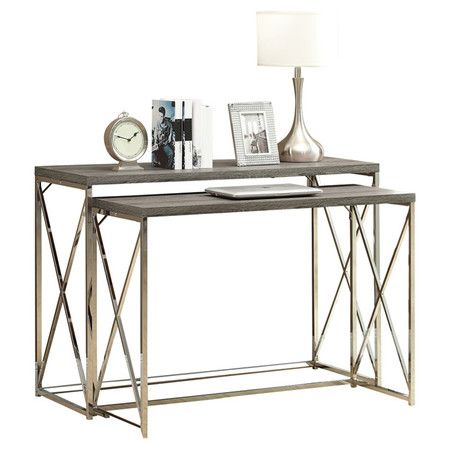 The Mercury Row Balog 2 Piece Nesting Console Table is a multifunctional set with an expensive and contemporary look. You can use these nesting tables to ...