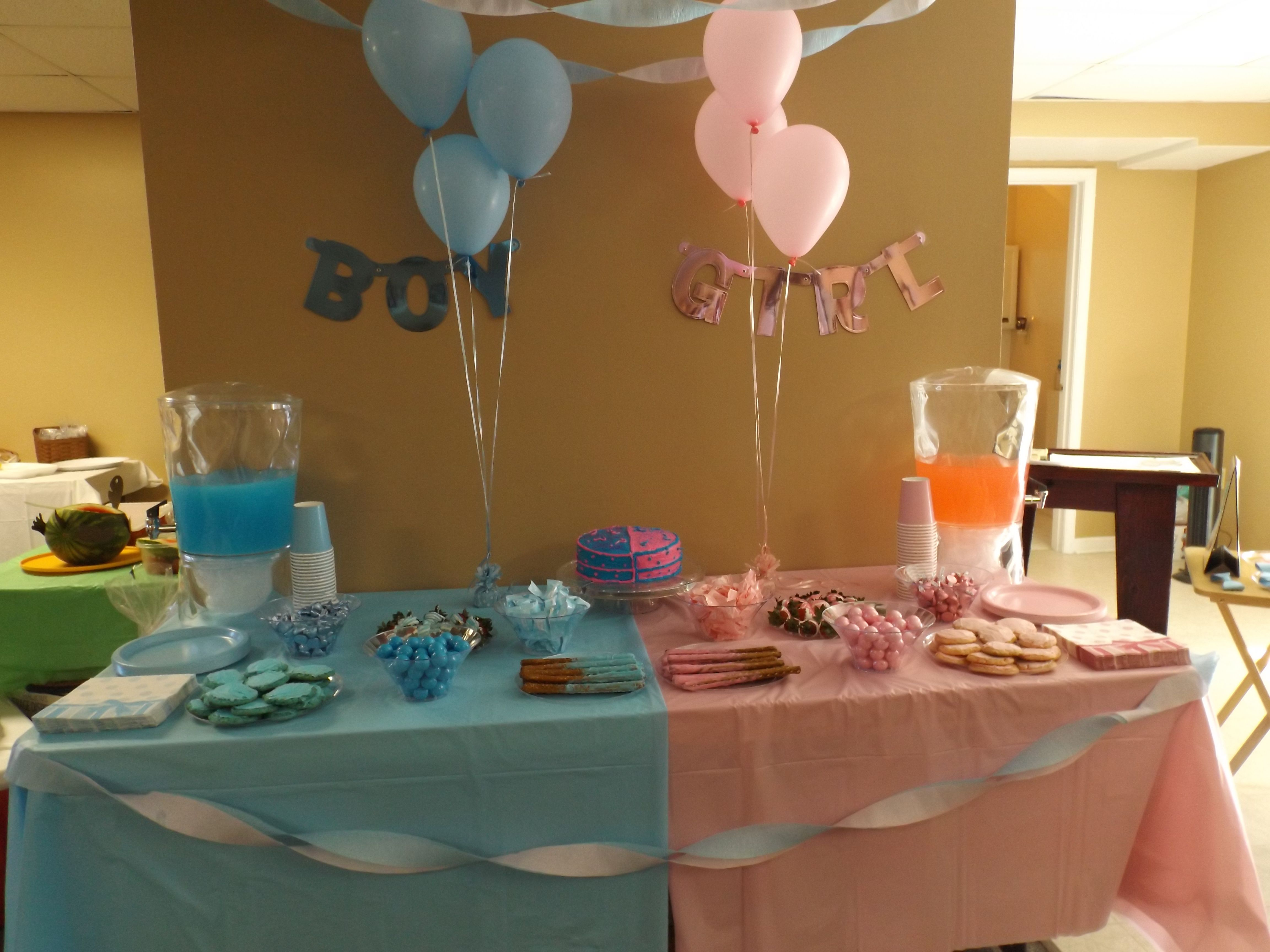 Gender Reveal Party table set up Gender reveal party