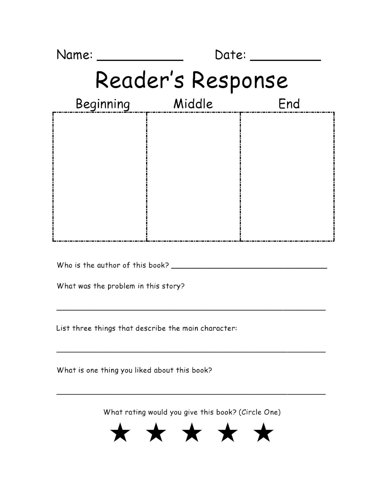 Beginning Middle And End Graphic Organizer Worksheet Examples   Reading  response [ 1600 x 1236 Pixel ]