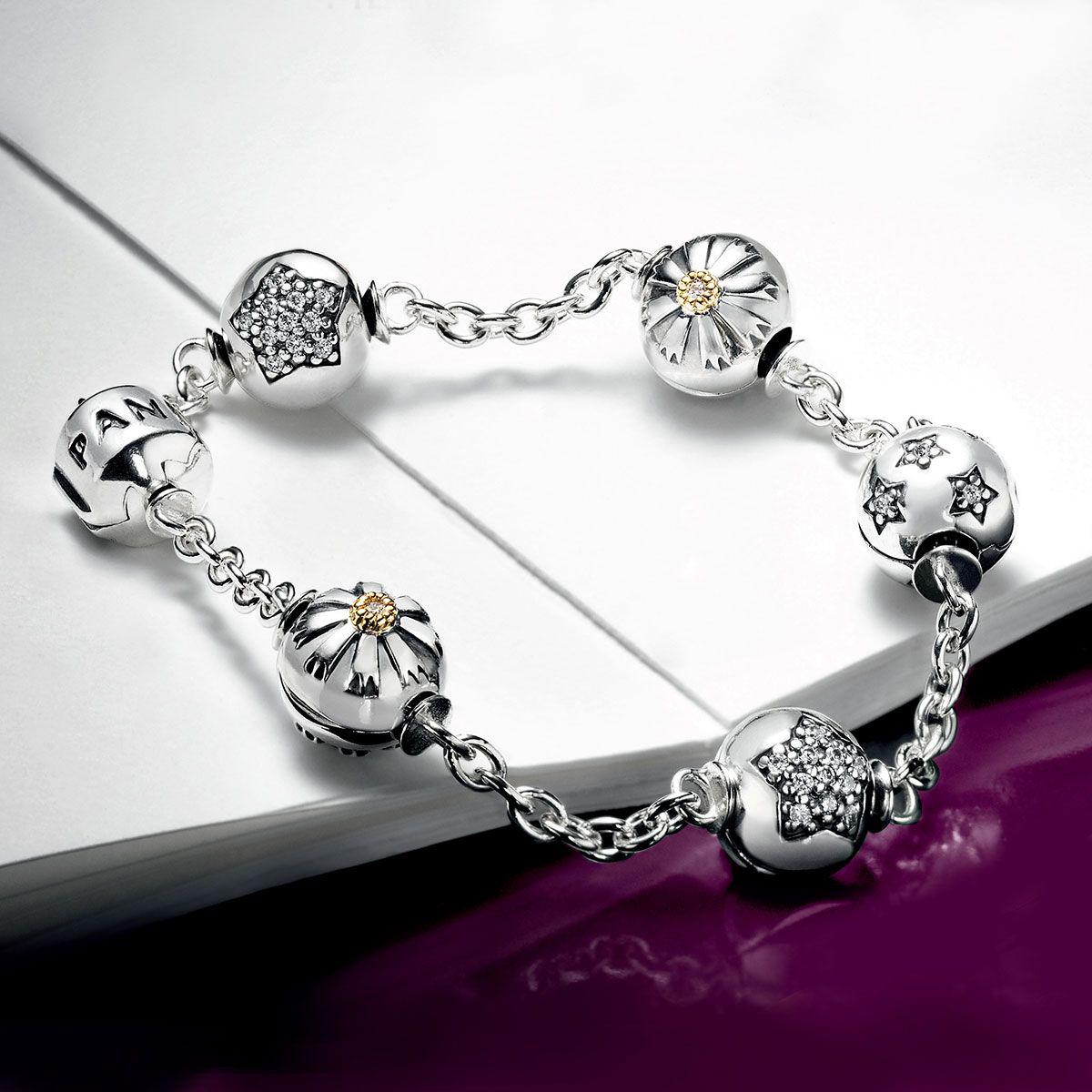 Pandora Capture 5 Clip Station Bracelet Star Clips And Friendship Clips