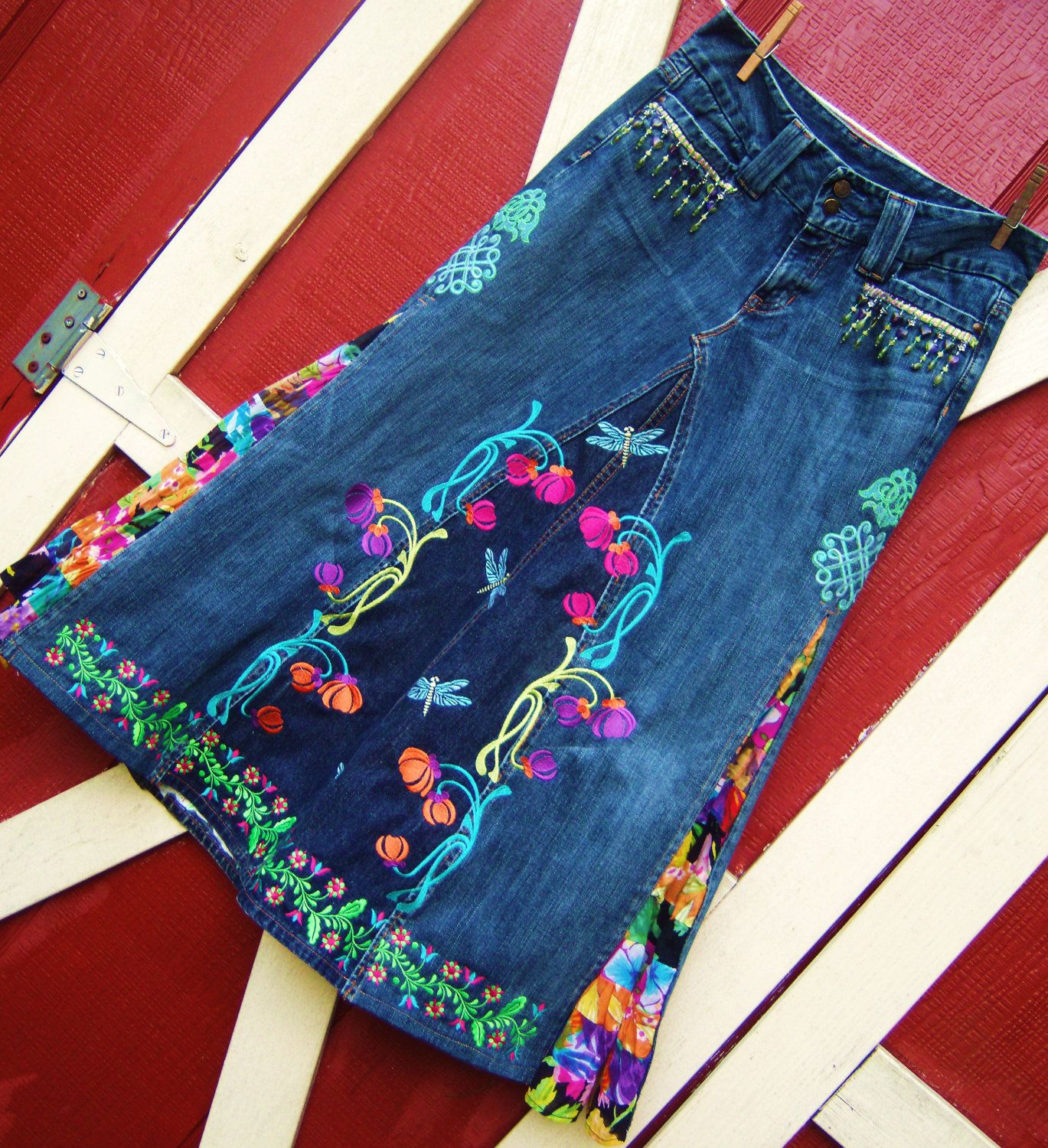jean skirt ideas, my daughter would love this :) | Sewing ...