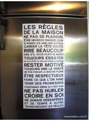 Trois magnets pour le frigo les r gles de la maison la to do list familiale et enfants - La maison des frigos ...
