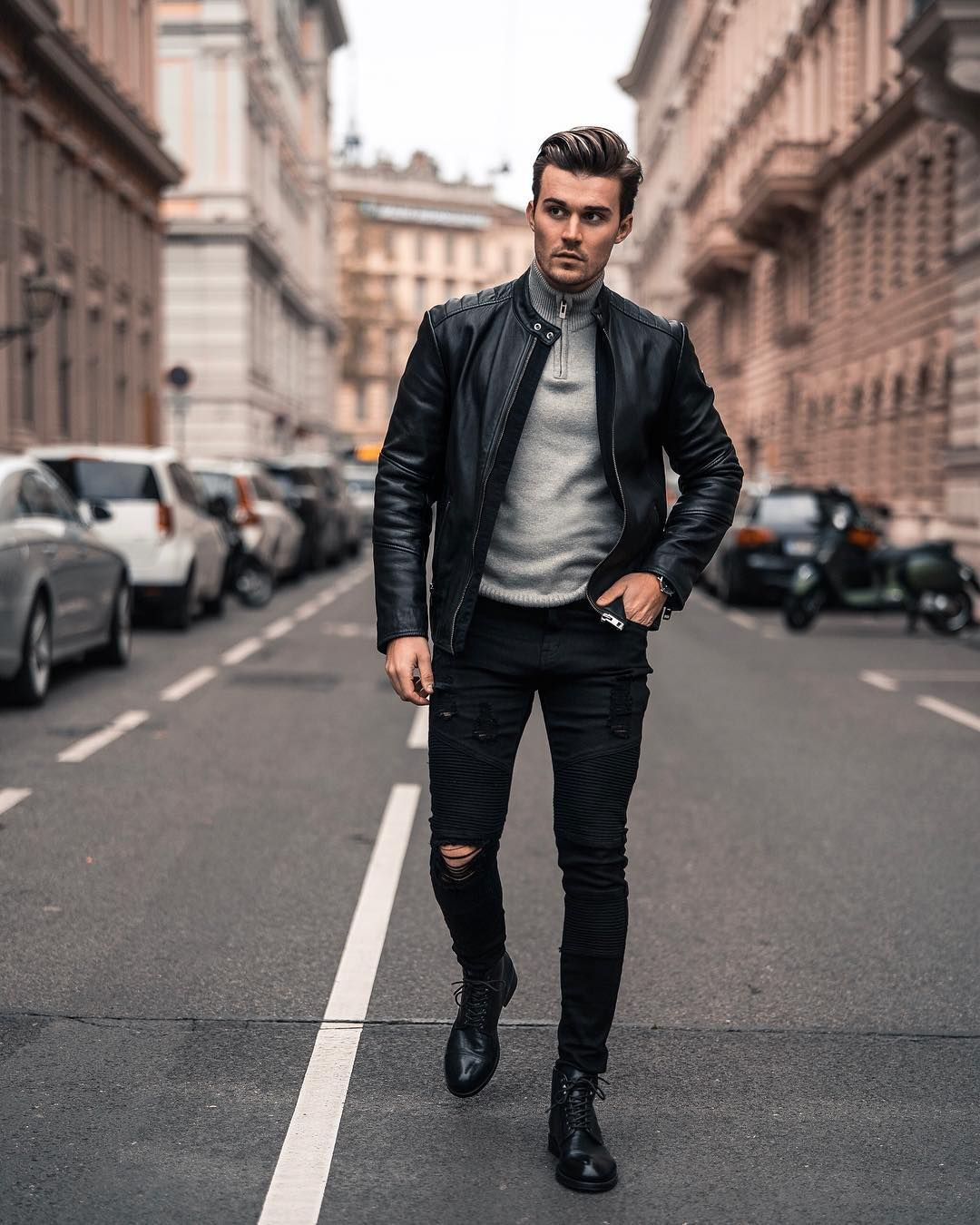 David Peric On Instagram Quick Shooting On A Rainy Day How Was Your Sunday Leather Jacket Outfit Men Men S Streetwear Mens Fashion Casual [ 1350 x 1080 Pixel ]
