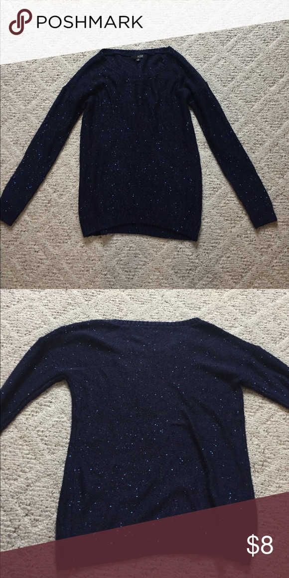 Gorgeous Dark Blue Sequin Sweater Some Pulled Threads But Easy To