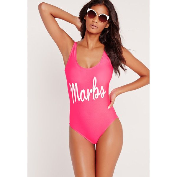 8403184866c Missguided Marbs High Leg Swimsuit ($29) ❤ liked on Polyvore featuring  swimwear, one-piece swimsuits, pink, pink swimsuit, swimming costumes,  swimsuit ...