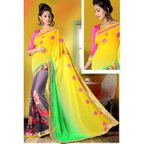 Admyrin Yellow And Grey Georgette Saree