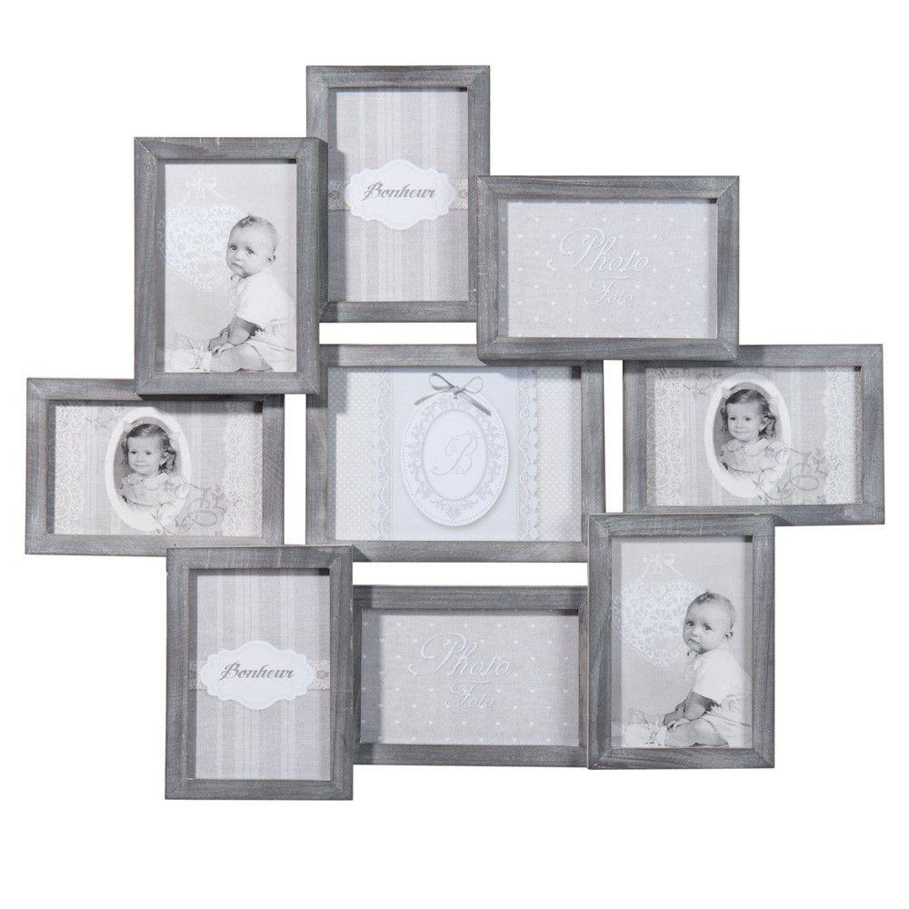 Marco para 9 fotos de madera gris 50 x 58 cm | Marcos de fotos ...