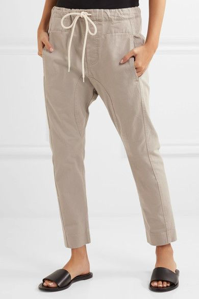 Pantalon Conique Coton-forage - Bassike Taupe ooQrL4oVM
