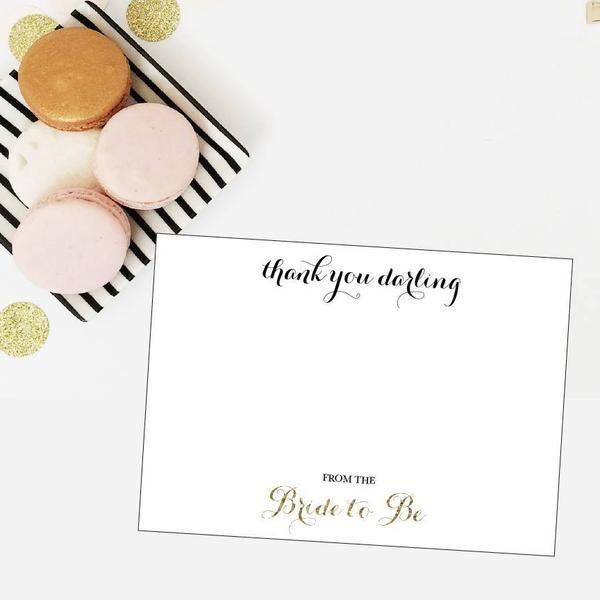 Bridal Shower Gold Glitter Thank You Darling Thank You Card - DIY