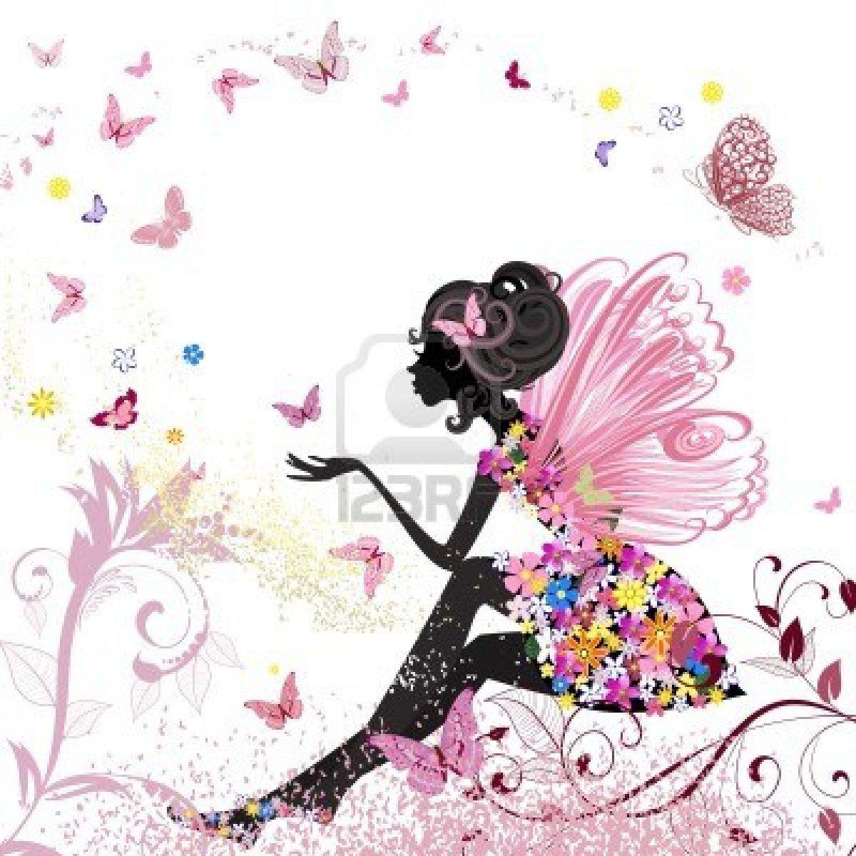Flor de hadas en el entorno de las mariposas Foto de archivo ...