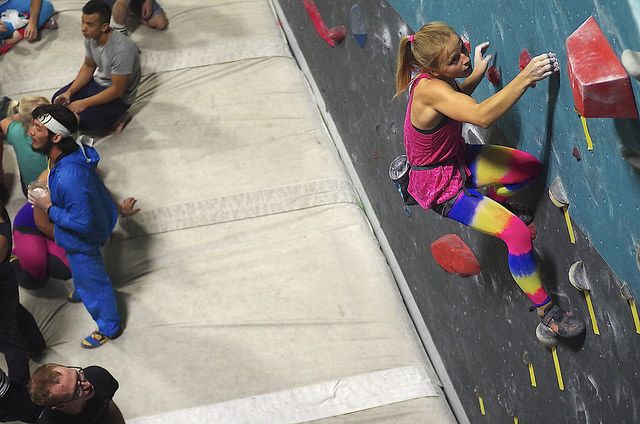 Awesome Tights And Awesome Climbing Was A Popular Theme At The 80 S Themed Routes Comp At La Boulders Climbers From All Over The Are Bouldering Route Climbers