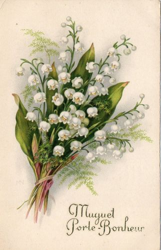 Cpa Muguet Porte Bonheur 1934 Free Printable Lily Of The Valley