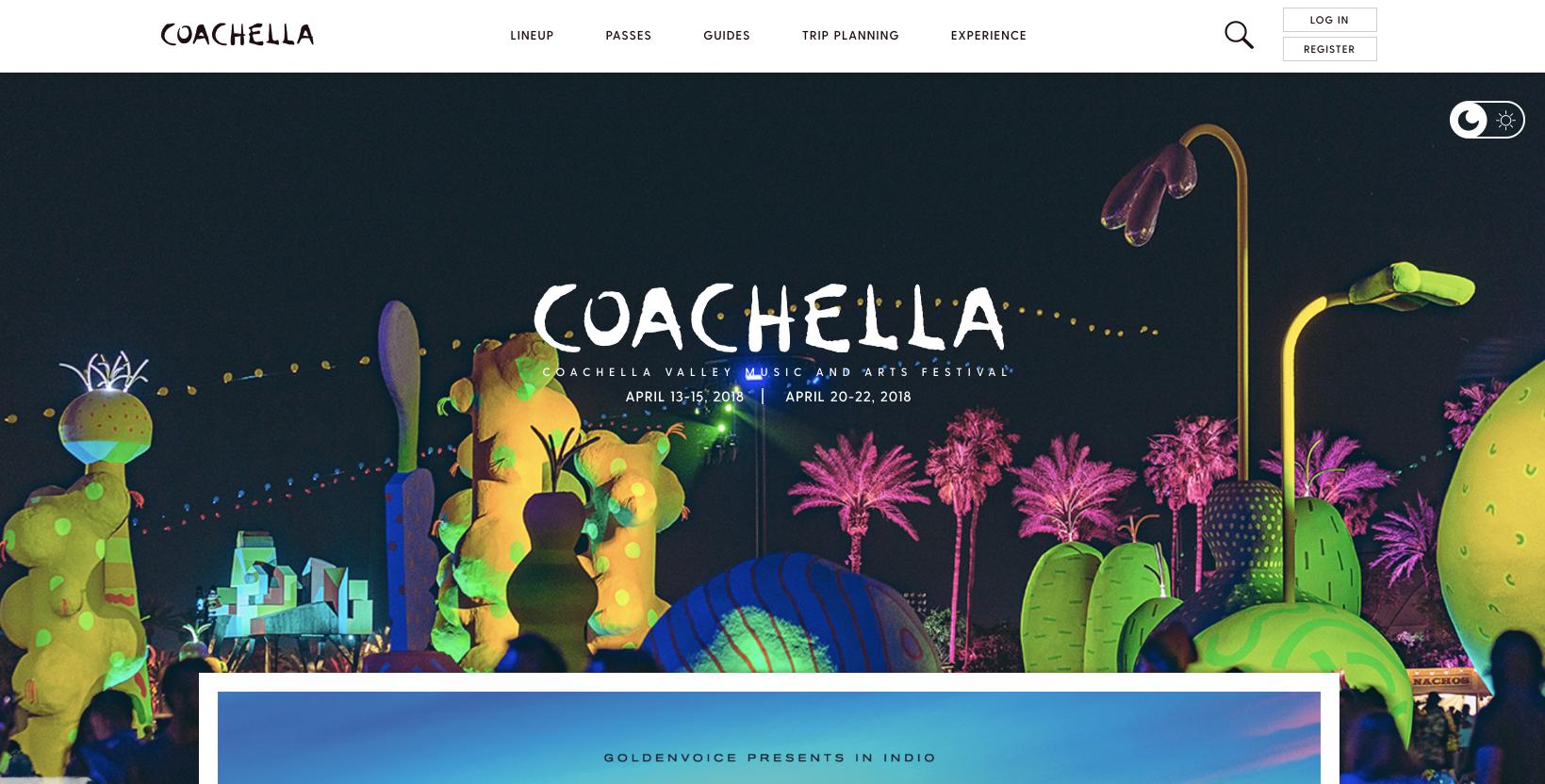 Coachella Homepage Herocomponent Colorful Branding Marketing Coachella Poster Branding