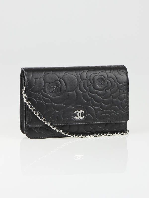 18e9c39a91443a Chanel Black Lambskin Leather Camellia WOC Clutch Bag | CHANEL BAGS ...
