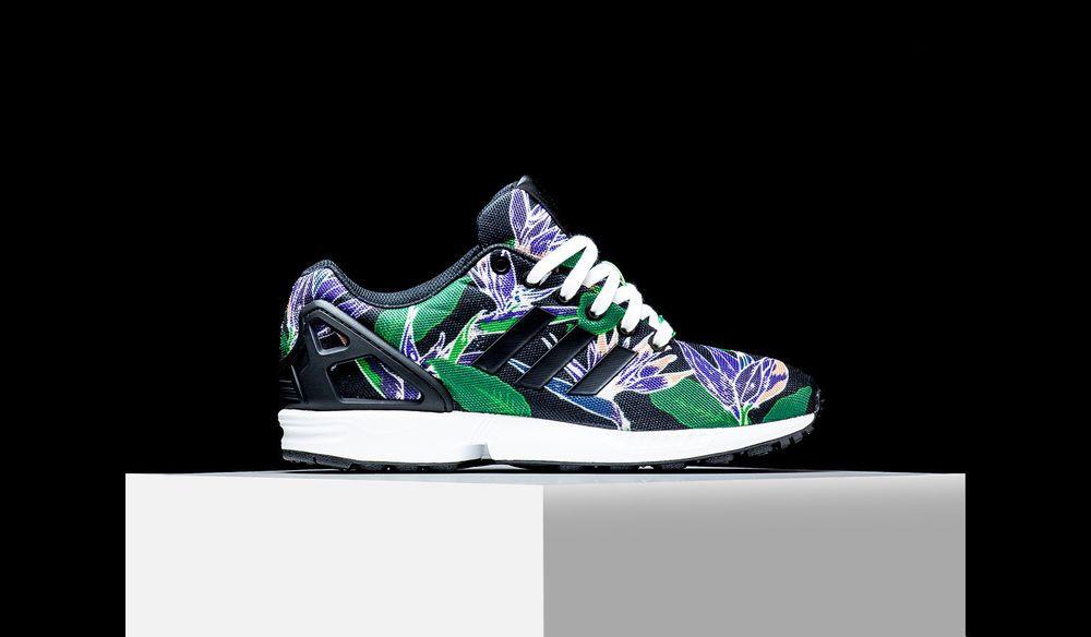 40e82ab52e Adidas ORIGINALS ZX FLUX Hawaiian Floral Black Green Purple Men s Shoes  B34518