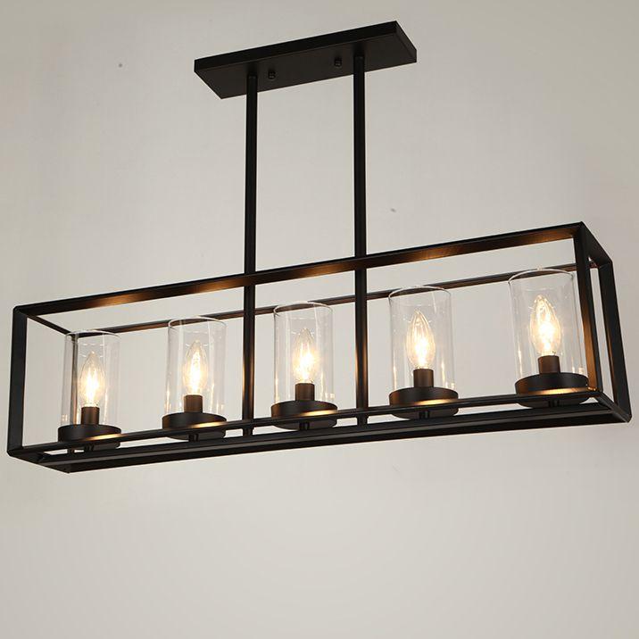 Vintage Rectangle Candle Pendant Lights Fixture Club Restaurant Dining Room Bedroom Home Indoor Lighting Cafes S