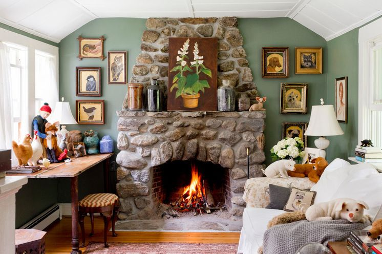 Cozy Farmhouse Living Room With Stone Fireplace  Fireplaces Captivating Design Ideas For Living Room With Fireplace Decorating Inspiration