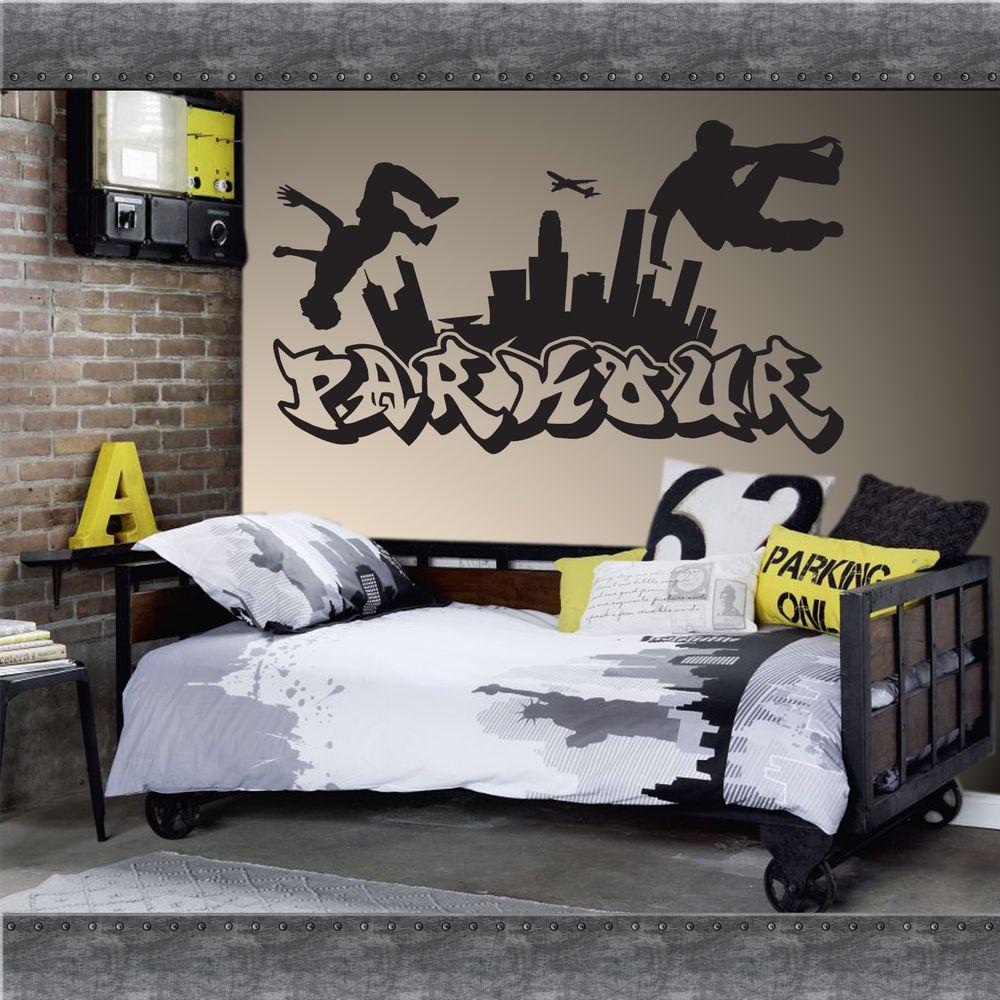 Graffiti wall vinyl - Parkour Free Running Jumping Urban Style Skate Graffiti Art Wall Sticker