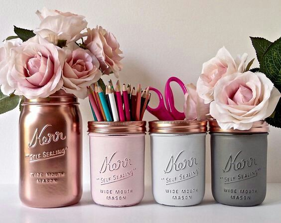 Pink Copper Gold Mint Cream Painted Mason Jars Perfect For Stationery And Flowers If You Want To Pretty Up Your Desk E