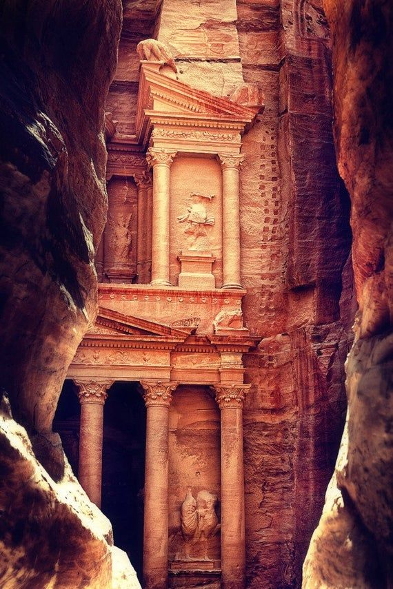 Petra, Jordan - The Treasury (Al-Khazneh) - Archaeological Site (6 Sizes Art Prints, Giclee, Posters, Wood & Metal Signs, Tote Bag, Towel)