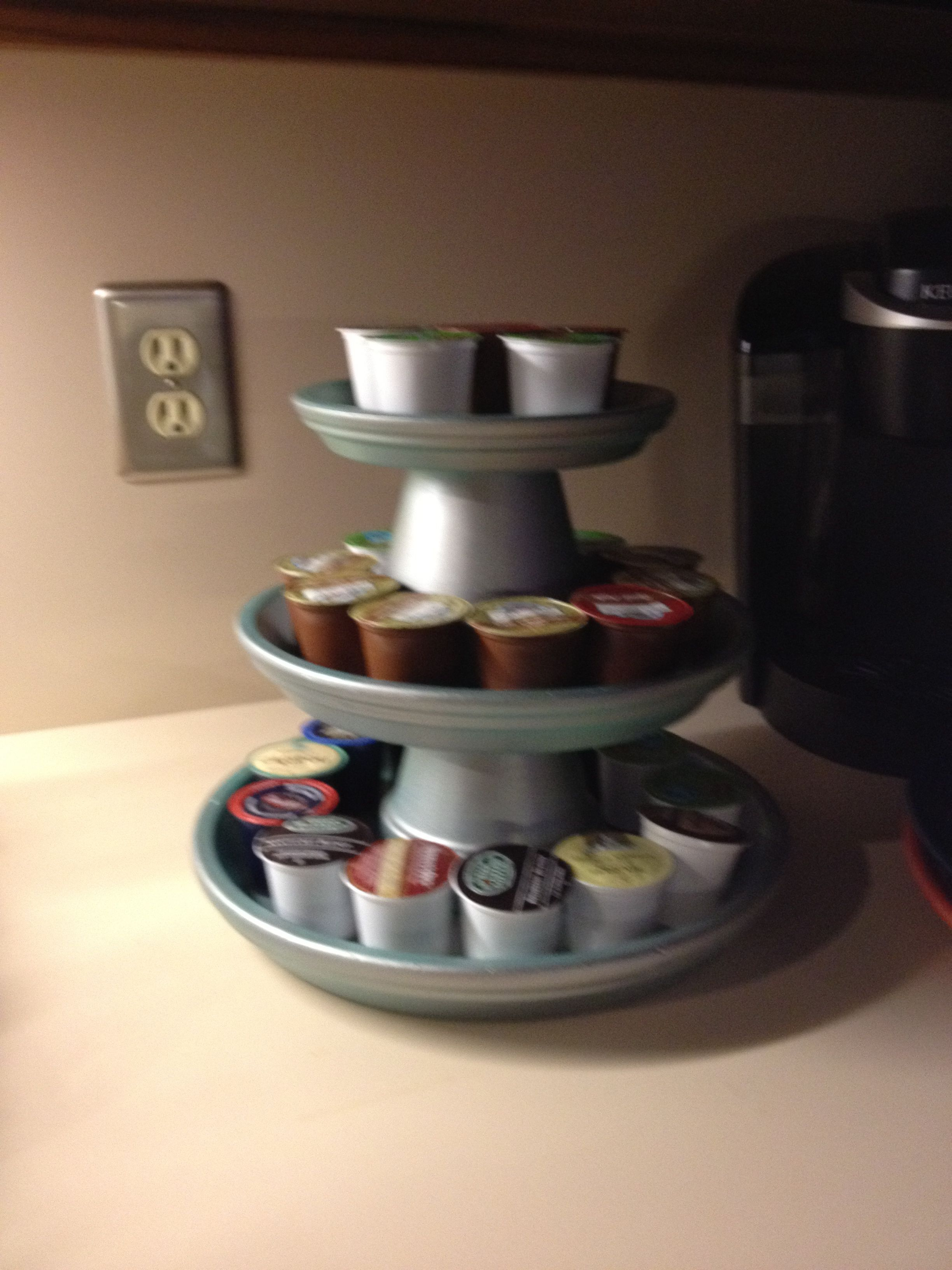 I'm using my tiered terracotta plates as a kcups holder