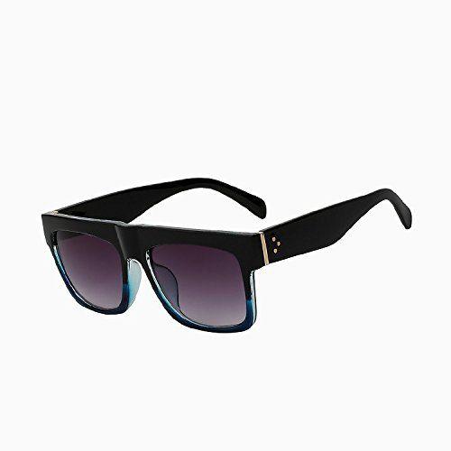 TIANLIANG04 vintage Lunettes de soleil femmes de dessus plat Lunettes de soleil Lunettes femelle carré large Oculos haute qualité UV400, Black blue frame