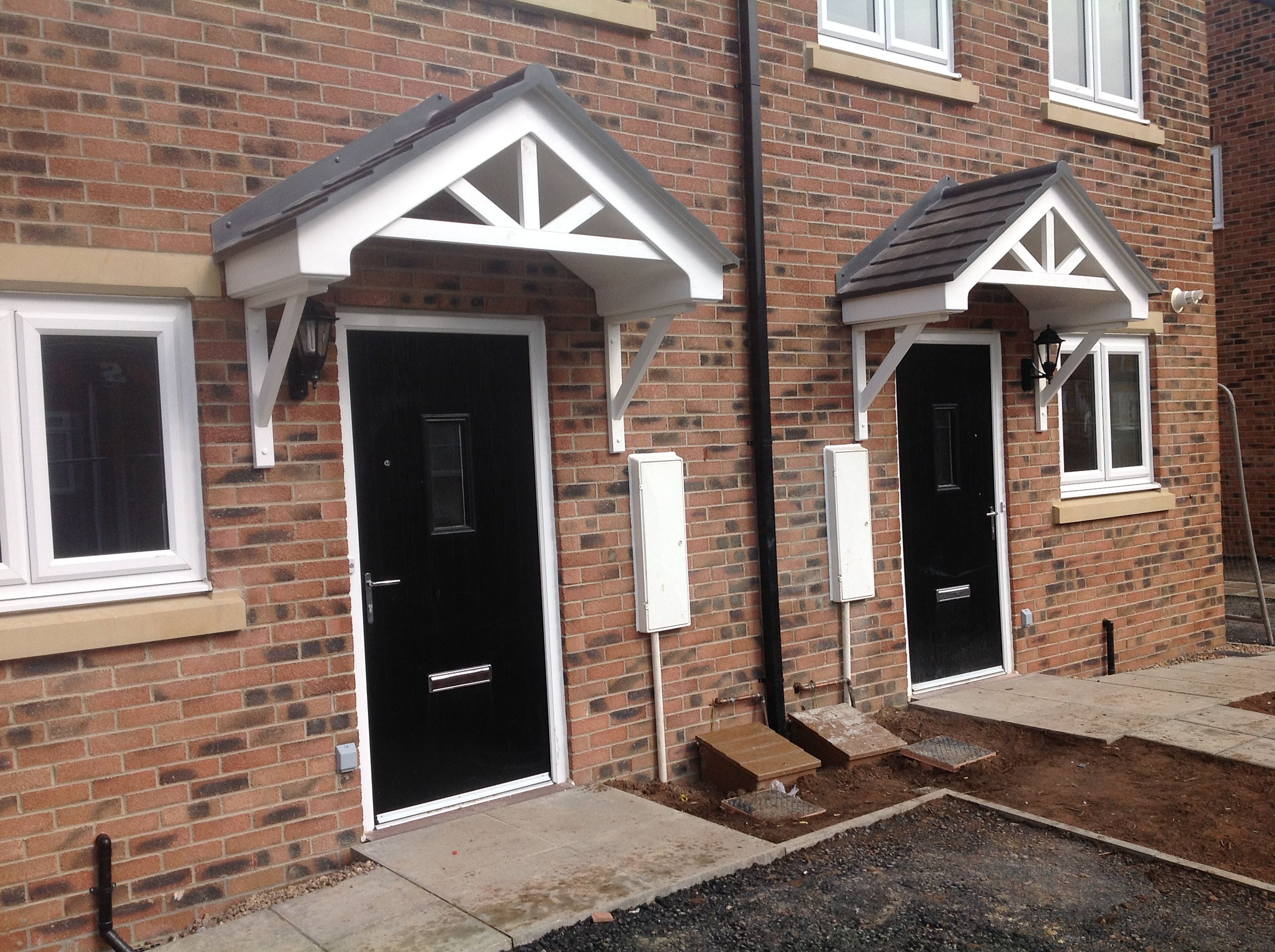 Derwent door canopy 2 models wide and standard. Whirte main structure with slate grey & Derwent door canopy 2 models wide and standard. Whirte main ...