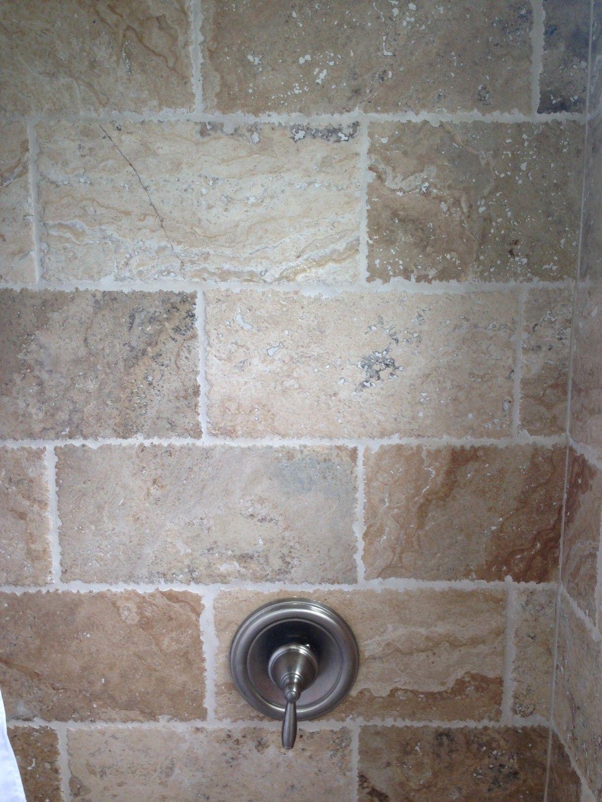 Bathroom Shower 8x16 Tile Tumbled Pico Travertine Chiseled Brushed