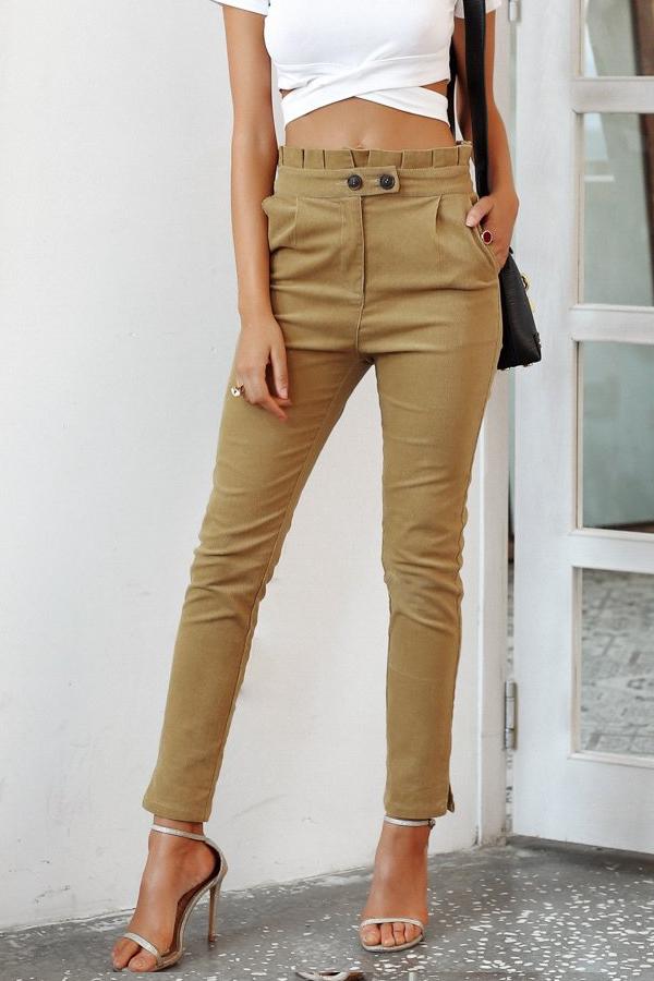 Khaki Corduroy Pants for Women High Waist Pants Street Outfit  corduroy  streetstyle fashionpants khaki e79d69311f