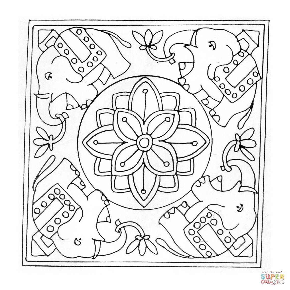 Elephant Mandala coloring page from Square mandalas category. Select ...