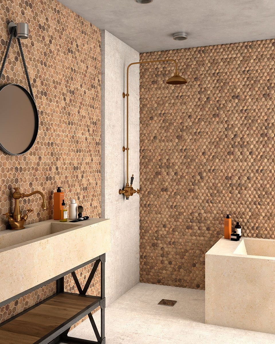 Love the effect look created with the VID wood collection. Hexagon mosaics available in a variety of natural tones. 🌳🍃  #architecture #design #interiors #interiordecorating #interiordesign #ceramics #mosaics #woodeffect #bathroomdesign #bathroomgoals #modernceramics #tilesitswhatwedo #natural #beautiful