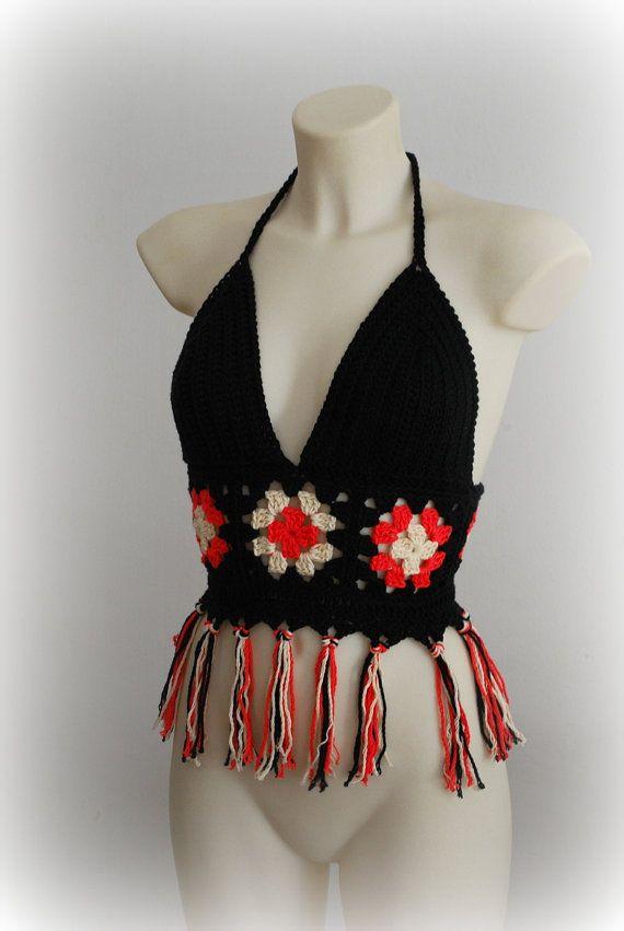 Hippie multicolor halter summer top, crochet top bra, fringe black halter top, sexy nice crochet top, festival top, beautiful hippie top bra