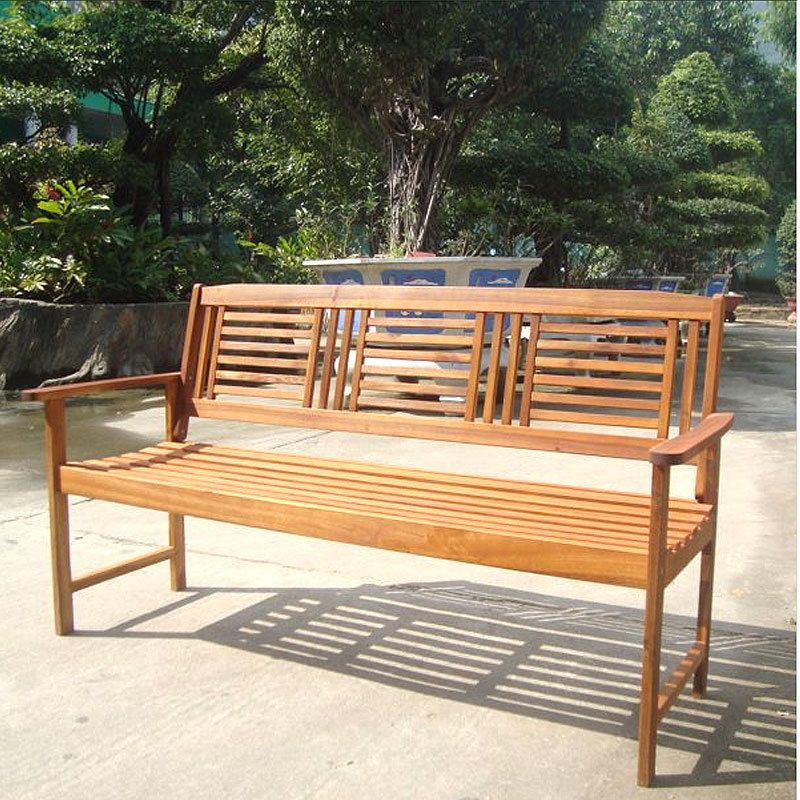 Garden Wooden Bench 128cm 3 Seater Patio Outdoor Seat ...