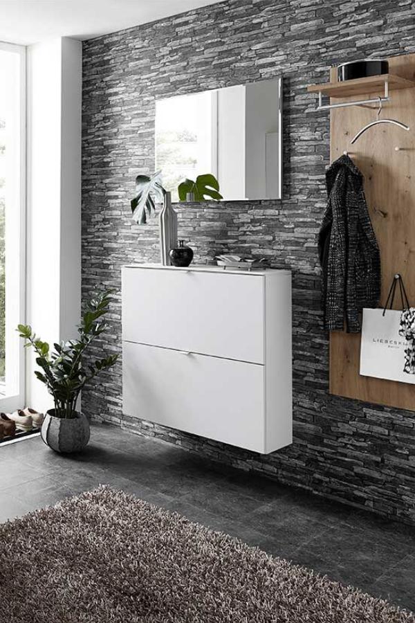 Design Garderobenset Lacariva In Weiss Und Wildeiche Optik Modern Garderoben Set Garderobenset Garderobenpaneel