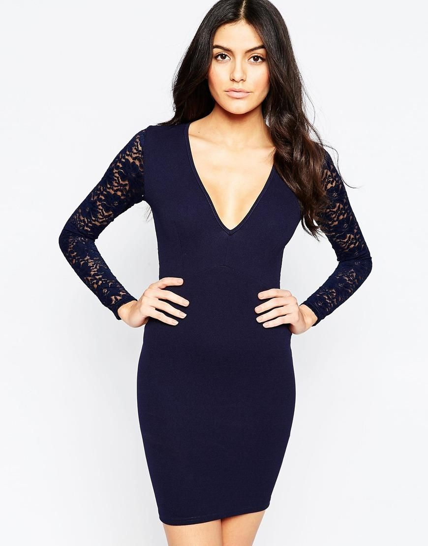 Club L | Club L Essentials Plunge Bodycon Dress with Lace Back and Sleeves at ASOS