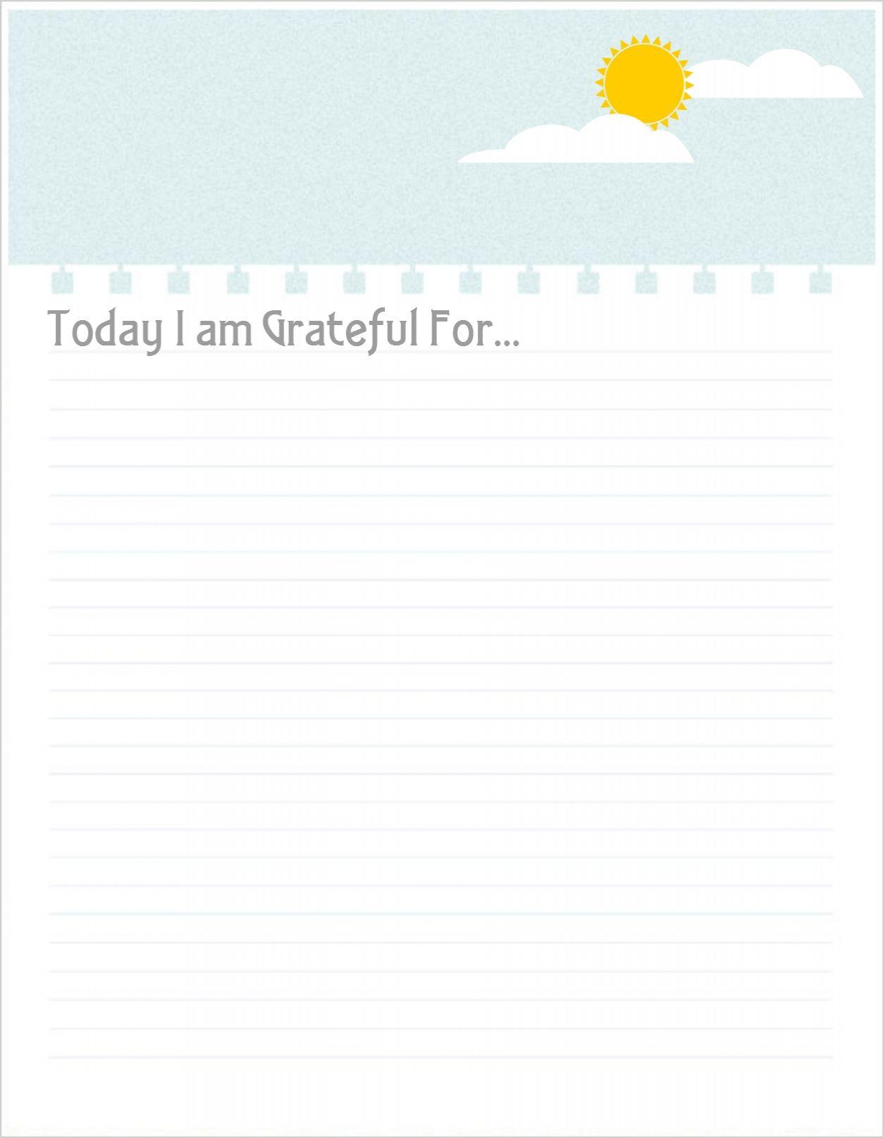 Gratitude Diary Sheet Free Printable