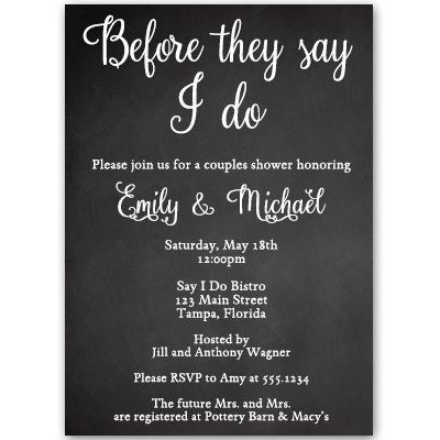 Chalkboard Couples Shower Invitations Bridal Wedding Co Ed